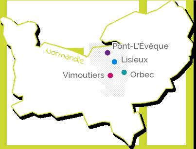 Cartographie des hopitaux du pays d'Auge